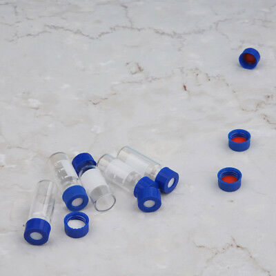 100PCS 2ML Auto-Sample Vial Screw Thread+Writing Area Clear+Caps Inline PTFE Pad