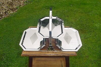 Vintage 3 Tier Folding  Cake Stand Art Deco Chrome