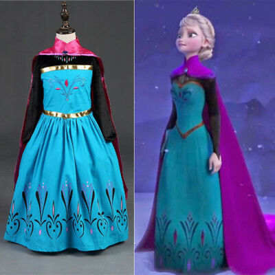 Girls Frozen Princess Queen Elsa Costume Party Birthday Dress with Cape 3-8Yrs