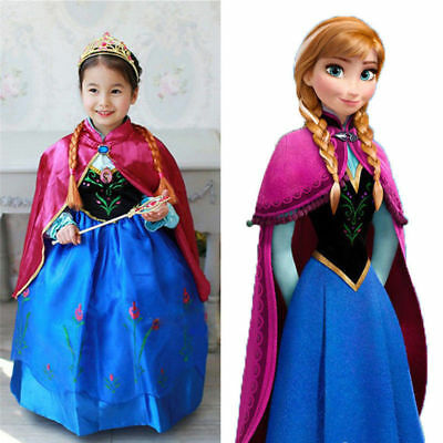 Disney Frozen Princess Anna Fancy Dress Cape Girls Kids Party Cosplay Costume AU