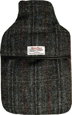 100% Pure Wool Black Check Harris Tweed 2L Hot Water Bottle with Padded Cover