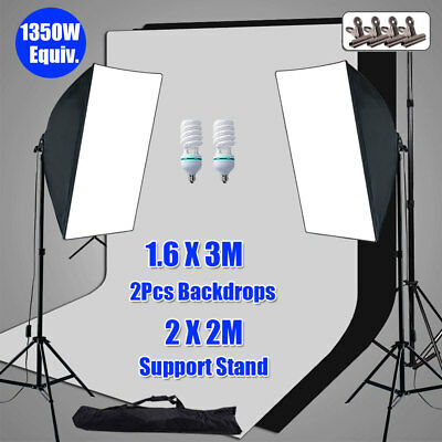 Photo Soft Box Softbox Lighting 2 Backdrop Support Light Background Stand Kit AU