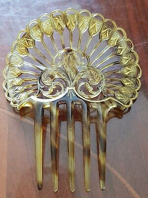 Antique Victorian Carved Faux Tortoiseshell  Large Hair Comb