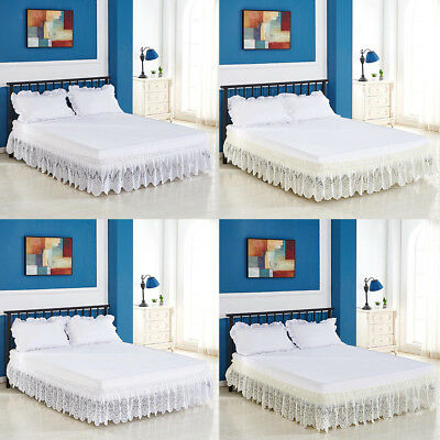 Lace Ruffle Elastic Band Bed Skirt Different Sizes Easy On Off Dust