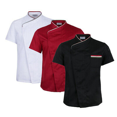 Chef Jacket Coat Catering Uniform Short Sleeve Invisible Snap Buttons Hotel