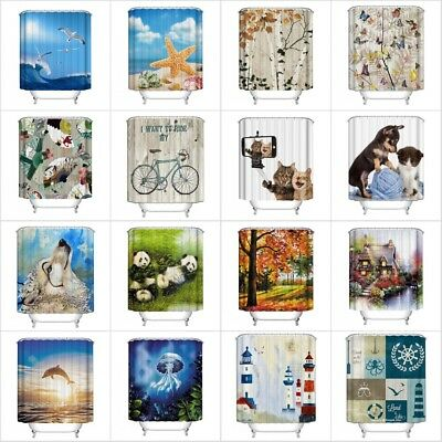 US Waterproof Fabric Various Bathroom Shower Curtain Sheer Panel Decor 12 Hooks