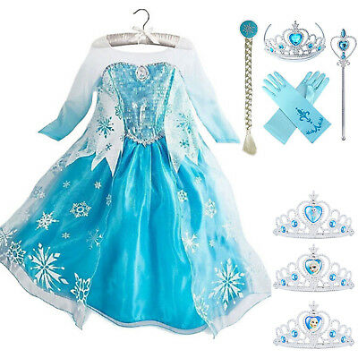 Kids Girls Frozen Princess Elsa Dress Fancy Costumes Party Cosplay Crown Gloves