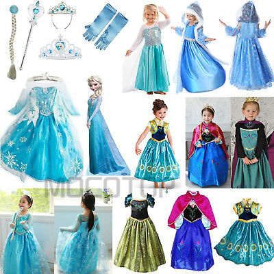 AU Frozen Princess Elsa & Anna Costume Crown Gloves Wig Girls Fancy Dress Up Lot