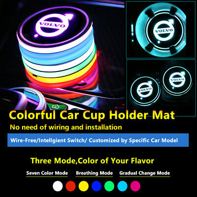 1pcs Colorful LED Coaster Atmosphere Car Parts Light Bulbs For Volvo Neon Lights