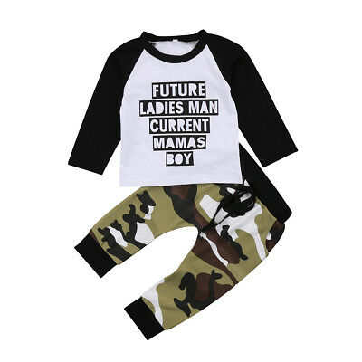 US Toddler Baby Boy Kids Clothes MAMA's Boy T-shirt Top + Long Pants Outfits Set
