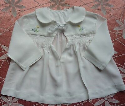 Vintage White 1950s Baby Matinee Coat~Jacket W/ Smocking & Embroidery