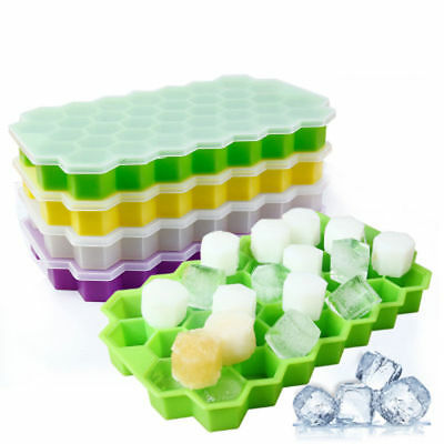 Honeycomb Ice Cube Tray 37 Cubes Ice Cream Tool Maker Silicone Mold + Lid Cover
