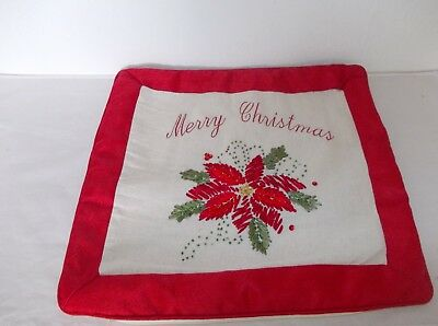 Set 6 Christmas Cushion Covers Red Embroidered Poinsettia Merry Christmas