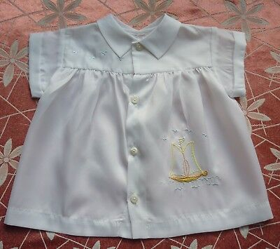 Vintage White 1960s Baby Shirt~Nautical, Sailboat & Sea Birds Embroidery