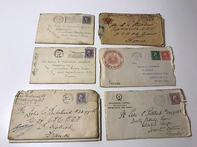 6 WWI World War 1 Letters to Canadian Soldier from USA to France, Canada 1917-19