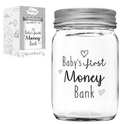 Baby's First Money Bank Jam Jar Money Box New Baby Gift by Hugs & Kisses