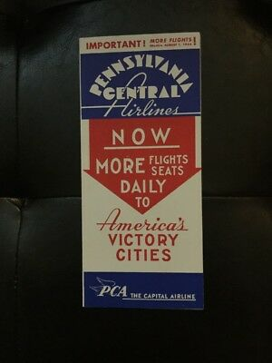 Pennsylvania Central Airlines PCA August 1st 1944 Time Table