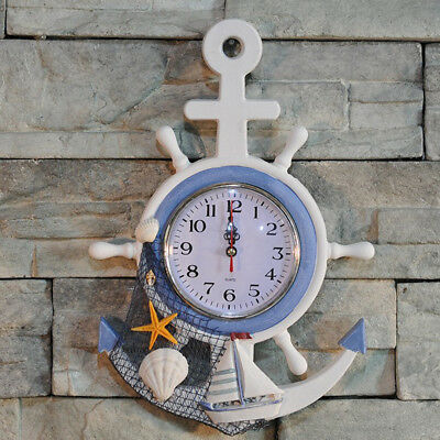 35cm Welcome Nautical Life buoy Life Ring Clock Wall Hanging Plauqe Decor 02