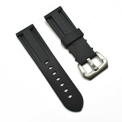 Replacement Black 24/26mm Rubber Watch Strap Watch Band & Buckle For PAM Watch