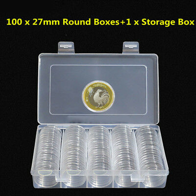 100pcs 27mm Plastic Clear Round Cases Coin Storage Capsules Holder Container+Box