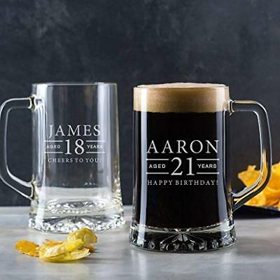 Personalised 21st Birthday Gift Male for Men Him Son Engraved Pint Glass Tankard
