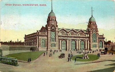 1910 Massachusetts Postcard: View Of The Union Station, Worcester, Mass.