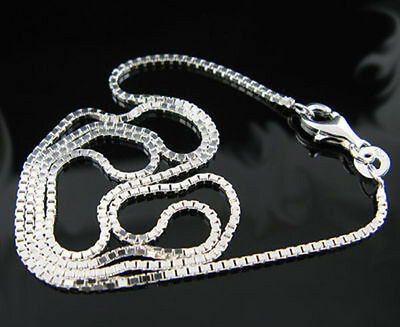 """5Pcs 925 Sterling Silver BOX CHAIN Necklace All Sizes Stamped 925 16-30"""" Fashion"""