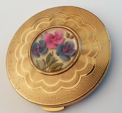 Vintage Kigu Inlayed With Flowers Under  A Dome Gold  Powder Mirror Compact