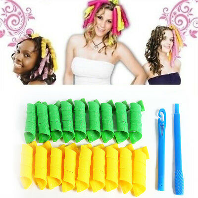 18PCS 20cm Magic Long Hair Curlers Curl Formers Leverage Rollers Spiral k9pM