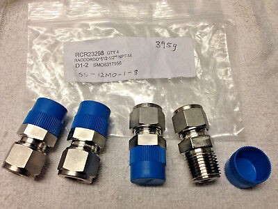 "4 x Swagelok 12mm x 1/2"" NPT Male Connector Stainless Steel Fitting SS-12M0-1-8"