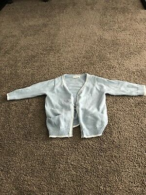 Purebaby 100% Organic Cotton Baby Blue Striped Boys Cardigan Size 00 or  3-6mths