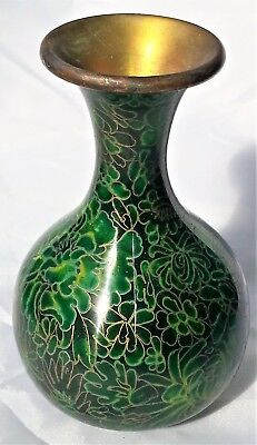 Vivid Green Cloisonne Vase Stands 15 cm Tall and is 32 cm around the centre