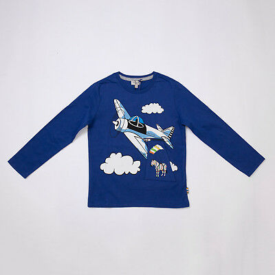 "T-Shirt Blu Zebra Maniche Lunghe (4/5/6/8/10A) ""paul Smith"" 5M10802 F/w 2018"