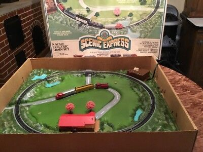 "VINTAGE BACHMANN BROS SCENIC EXPRESS N SCALE ELECTRIC TRAIN SET 4551 24x29"" RARE"