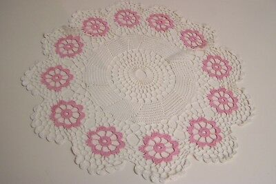 "Vintage Crocheted Doily Pink and Ecru - 11"" diameter"