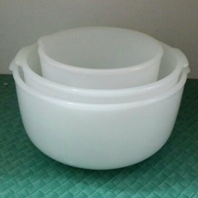 VINTAGE Milk Glass Sunbeam Mixmaster Mixing Bowls, Large, Medium & Small