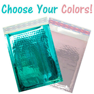 6x10 Teal, Rose Gold Mirrored Padded Bubble Mailers,Shipping Envelopes Self Seal