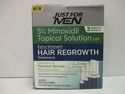 Just For Men 5% Minoxidil Topical Extra Strength Hair Regrowth Exp 11/19 Nt 2807