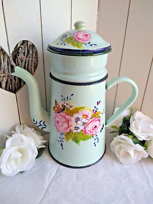 antique French enamel coffee café pot can floral lidded skyblue botanical large