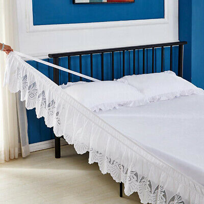 Lace Ruffle Elastic Band Bed Skirt White#1 200x200cm Size Easy On Off Dust