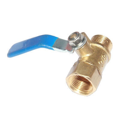 Female to Male 3/8'' Thread Brass Ball Valve Shut-Off Switch Handle Blue
