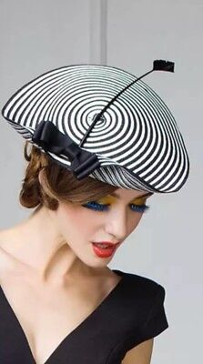 Derby Day Black and White Fascinator / Head piece / Millinery / Races