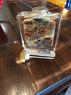 Chinese Glass Inside Painted Snuff  Bottle Signed