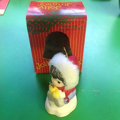 Vintage Jolly Jingles Christmas Bell Ornament With The Box 1986 Hand Painted