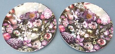 Lovely Boxed Pair Ted Baker Portmeirion Shadow Floral Plates Boxed New Unused