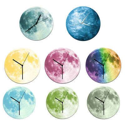 Luxury 3D Moon Wall Clock 12H Wall Decor Sticker Home Living Room Art Décor