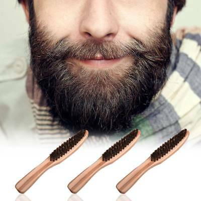Men's Beard Brush Moustache Natural Wood Boar Bristle With Handle