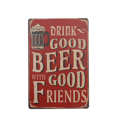 20x30cm Vintage Metal Tin Sign Wall Art Poster Pub Bar Decor DRINK GOOD BEER