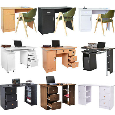 Modern Business Office Computer PC Desk Home Study Table Book Shelves Storage