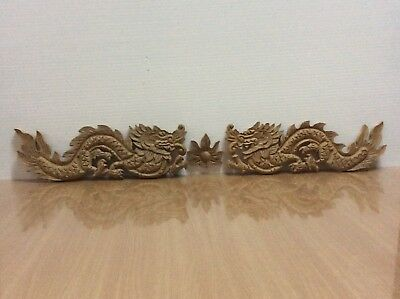 Hand Carved Carving Teak Wood Wooden Wall Sculpture Twin Dragons Set Home Decor